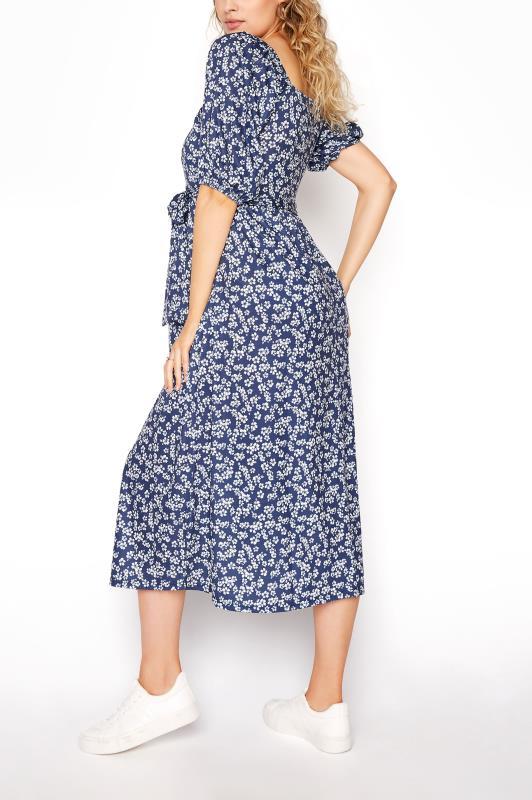 LTS Maternity Navy Blue Ditsy Square Neck Puff Sleeve Milkmaid Dress_C.jpg