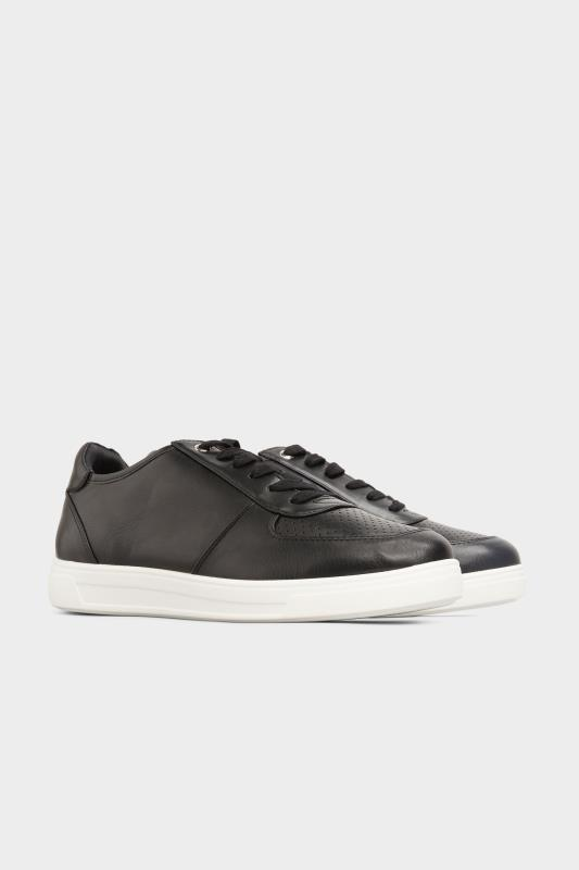 Black Vegan Leather Lace Up Trainers In Extra Wide Fit_B.jpg