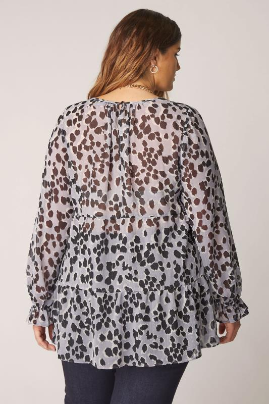 THE LIMITED EDIT Grey Leopard Frill Smock Blouse_C.jpg