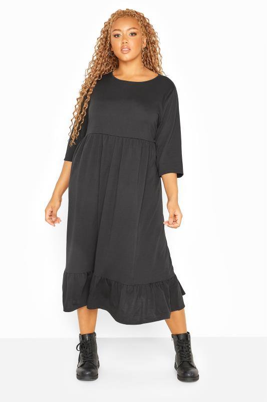 LIMITED COLLECTION Black Tiered Smock Sweatshirt Midi Dress