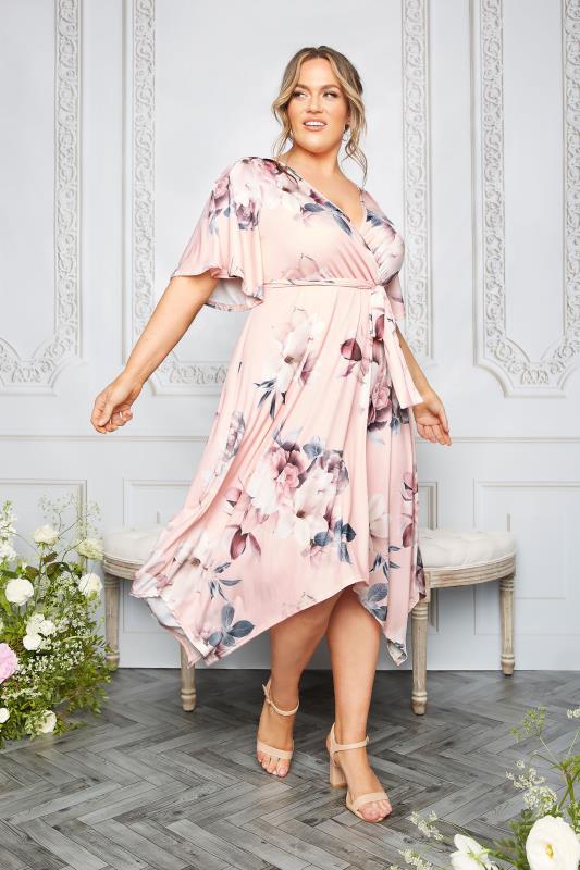YOURS LONDON Pink Floral Wrap Hanky Hem Dress_L.jpg