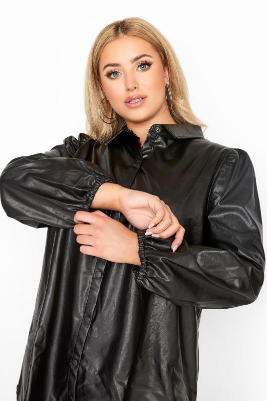 Black Leather Look Puff Sleeve Shirt