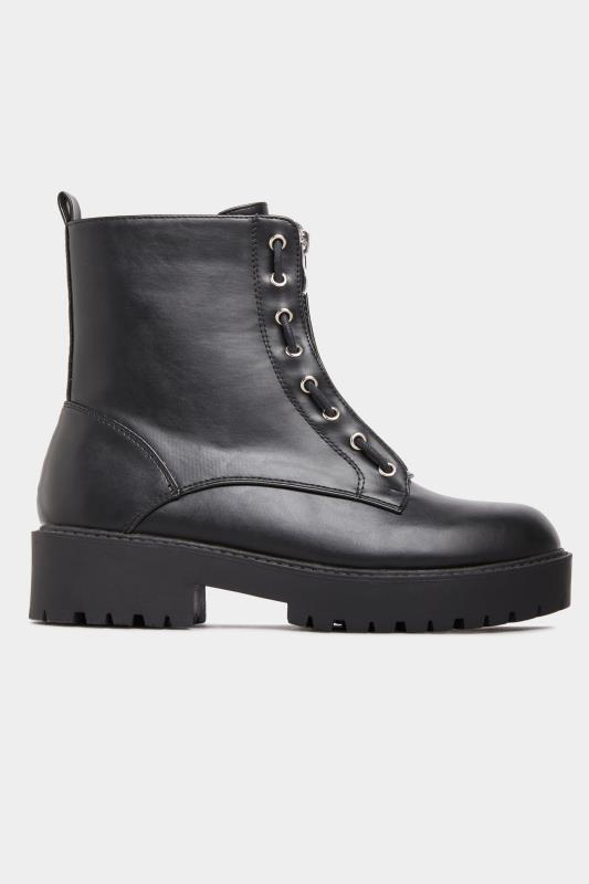 LIMITED COLLECTION Black Vegan Faux Leather Zip Chunky Boots In Wide Fit