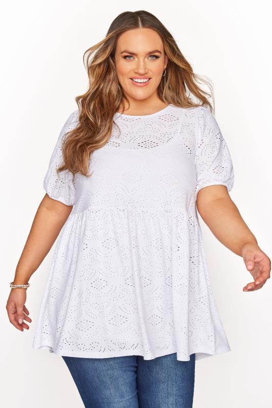 Plus Size  White Broderie Anglaise Peplum Top