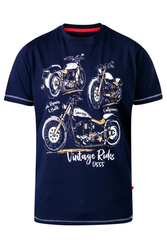 Men's  D555 Navy Motorbike Printed T-Shirt
