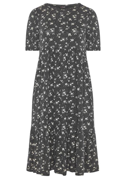Black Floral Frill Hem Midi Dress_F.jpg