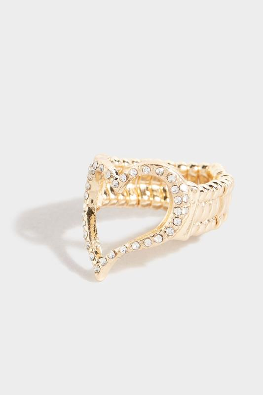 Yours Gold Diamante Heart Stretch Ring