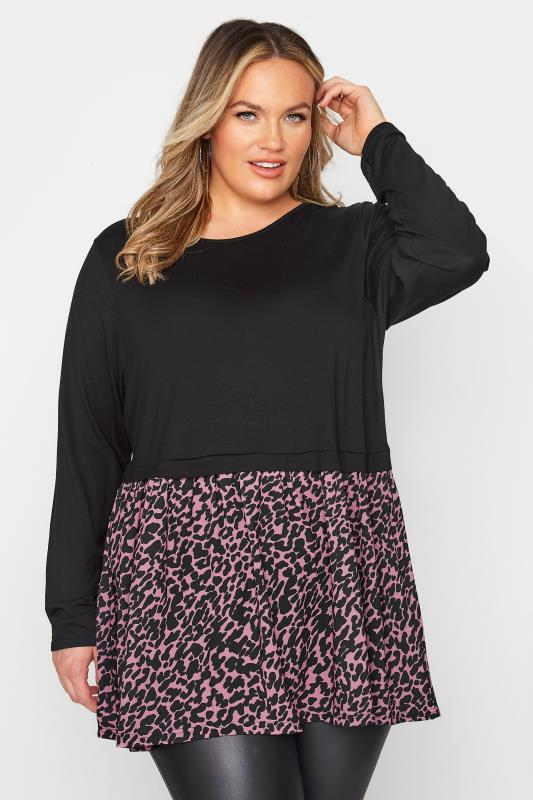 Plus Size  LIMITED COLLECTION Pink Animal Markings Bubble Crepe Top