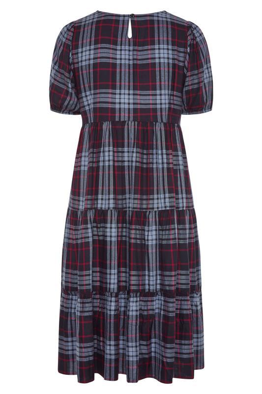 Navy Plaid Puff Sleeve Smock Midaxi dress_BK.jpg