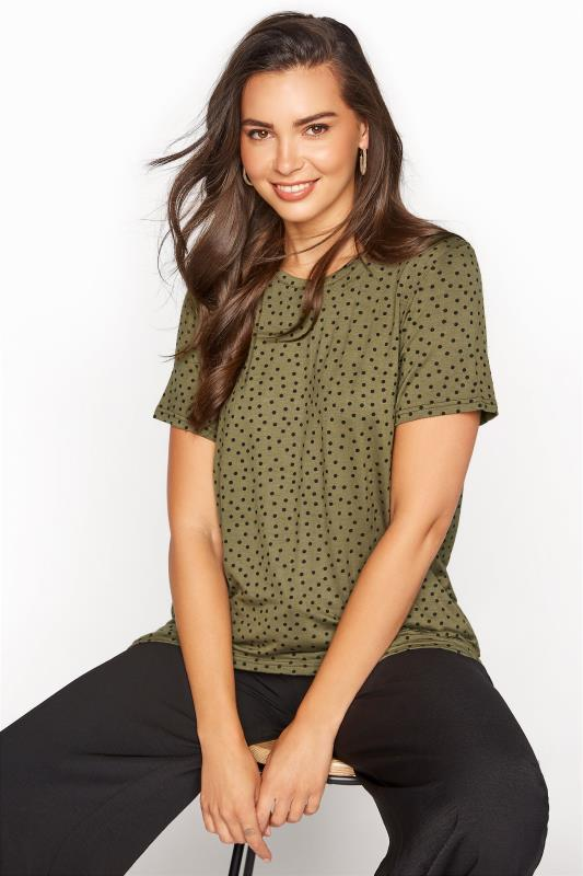 LTS Khaki Polka Dot Print T-Shirt_A.jpg