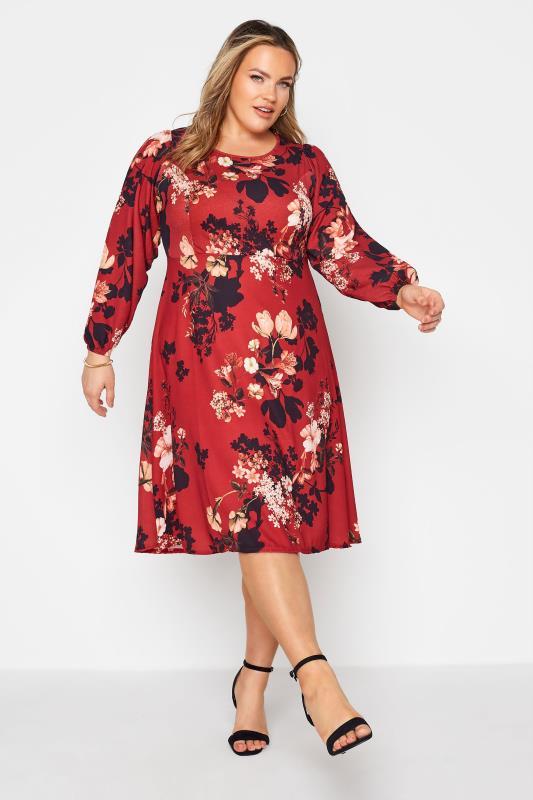 dla puszystych YOURS LONDON Red Floral Midi Dress