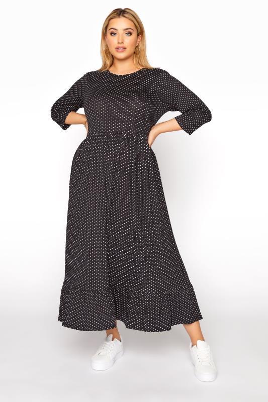 LIMITED COLLECTION Black Polka Dot Smock Midaxi Dress_A.jpg