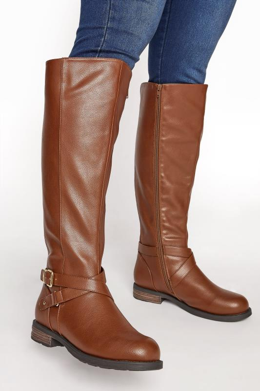 Grande Taille Brown Faux Leather Buckle Knee High Boots In Extra Wide Fit