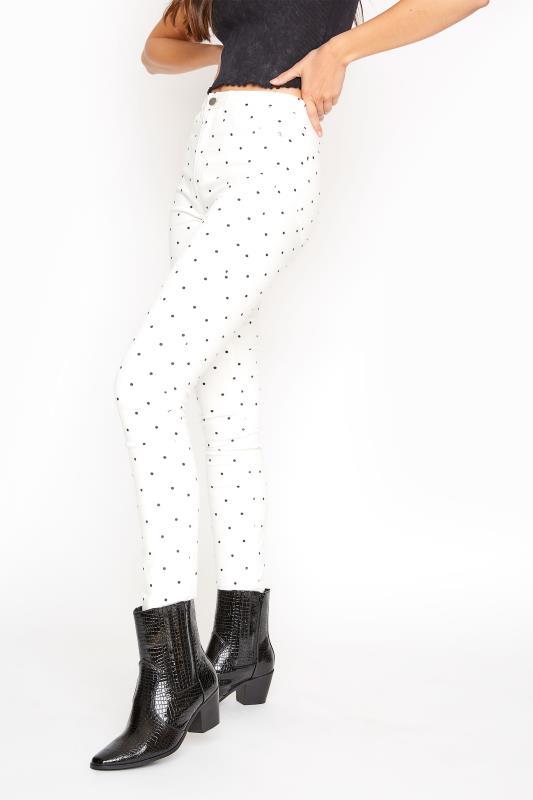 White Polka Dot Printed Skinny Jean