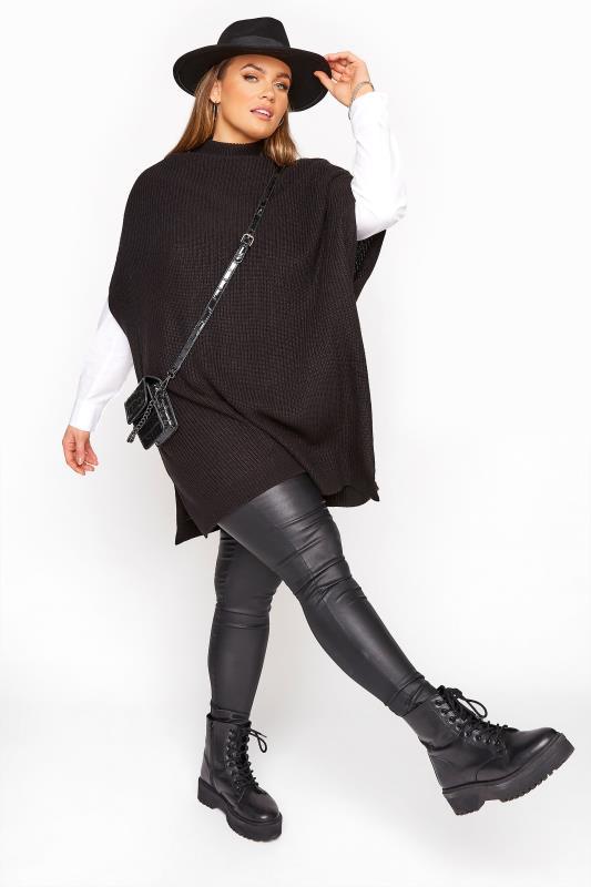 Black Longline Sleeveless Knitted Jumper_B.jpg