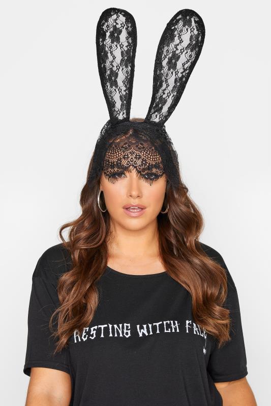 Großen Größen  Black Lace Veil Bunny Halloween Headband