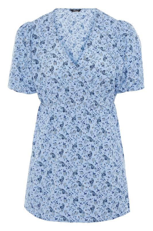 LIMITED COLLECTION Blue Paisley Print Wrap Top_F.jpg
