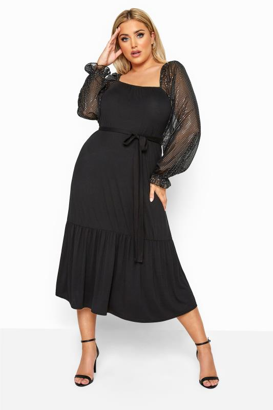 Plus Size  LIMITED COLLECTION Black Sequin Sleeve Smock Midi Dress