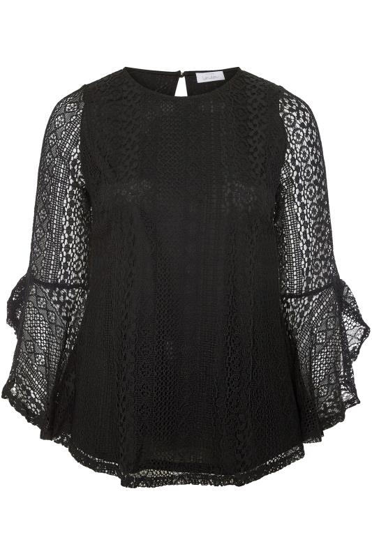 YOURS LONDON Black Lace Flared Sleeve Top