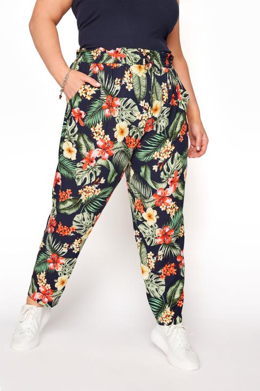 YOURS LONDON Black Tropical Tapered Harem Trousers_B.jpg