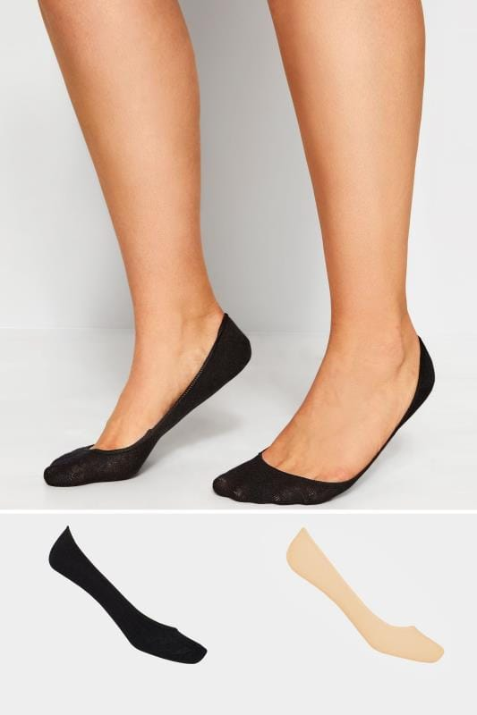 Plus Size Socks 2 PACK Black & Nude Footsie Socks