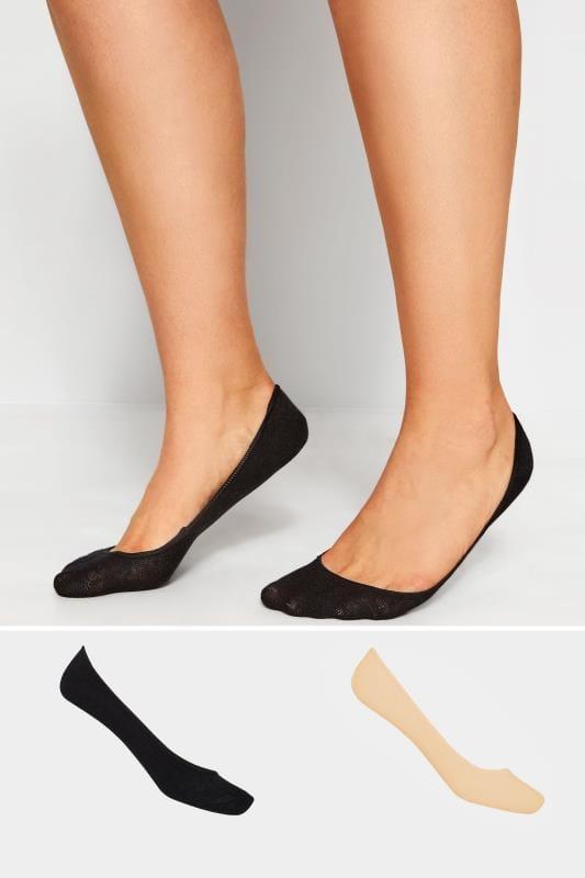 Plus-Größen Plus Size Socks 2 PACK Black & Nude Footsie Socks