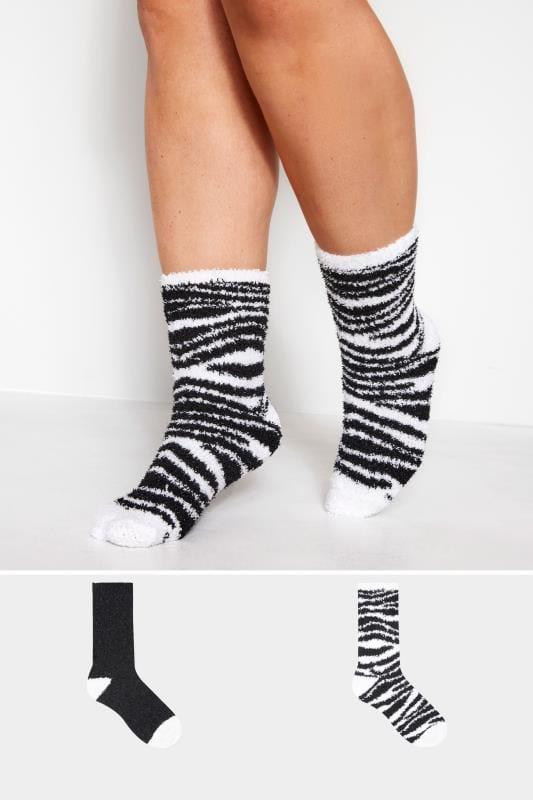 Plus Size Socks 2 Pack Zebra Slipper Socks