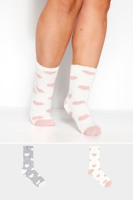 Große Größen Socken 2er Pack Kuschelsocken mit Herzmuster