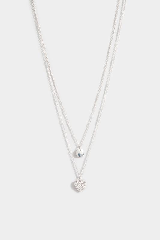 Plus-Größen Jewellery Silver Double Layer Diamante Heart Necklace