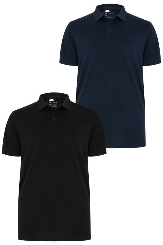 2 PACK BadRhino Black & Navy Basic Polo Shirt