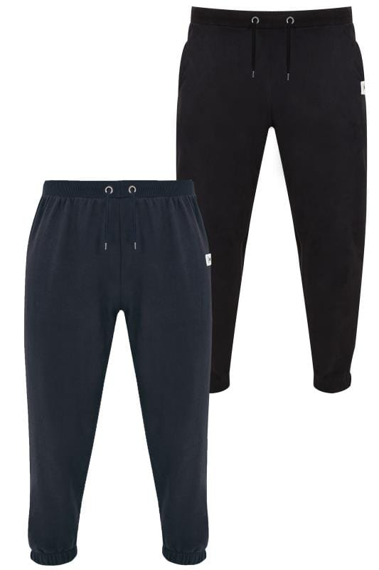 Joggers 2 PACK BadRhino Black & Navy Basic Sweat Joggers With Pockets 200580