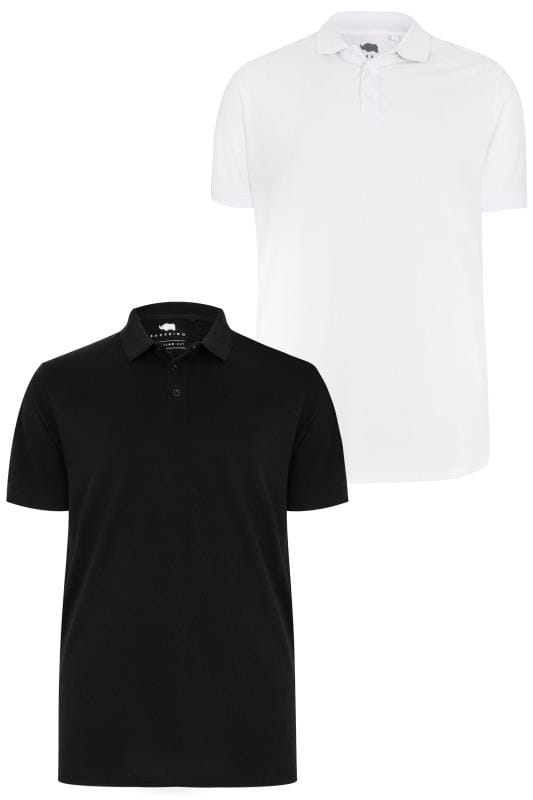 2 PACK BadRhino Black & White Basic Polo Shirt