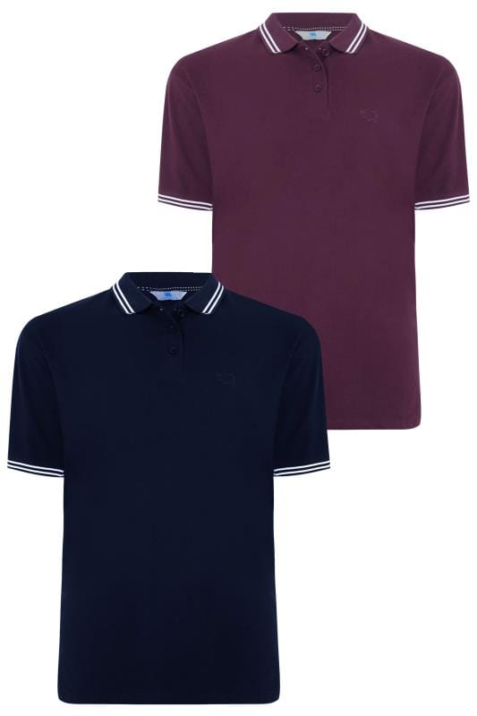 Polo Shirts 2 PACK BadRhino Purple & Navy Polo Shirt With Stripe Detail 200578