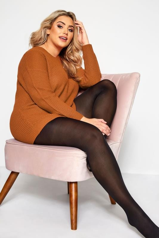 Plus Size Tights Tallas Grandes 2 PACK Black 70 Denier Tights