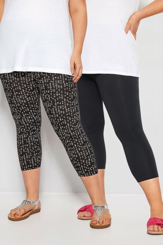 Plus Size Fashion Leggings 2 PACK Black Aztec Cropped Leggings