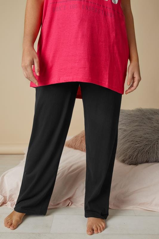 2 PACK Black Basic Cotton Pyjama Bottoms