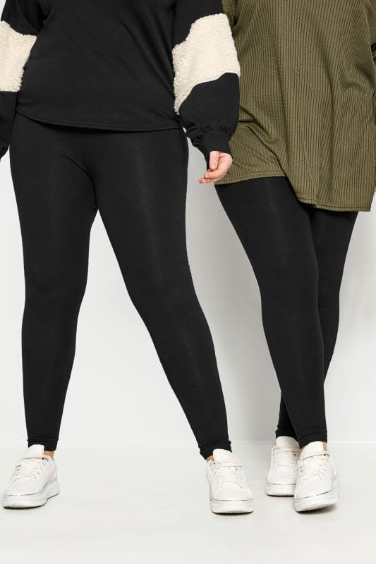 Basic Leggings Grande Taille 2 PACK Black Cotton Essential Leggings