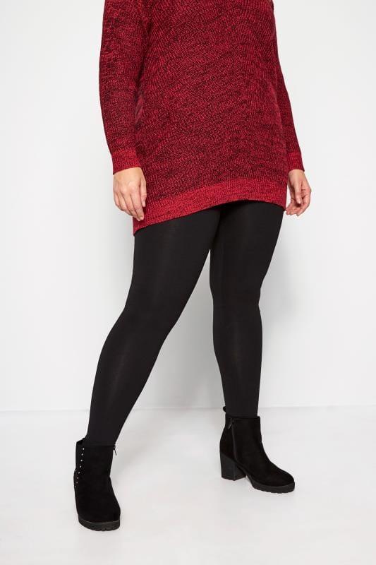Plus Size Basic Leggings 2 PACK Black Cotton Essential Leggings