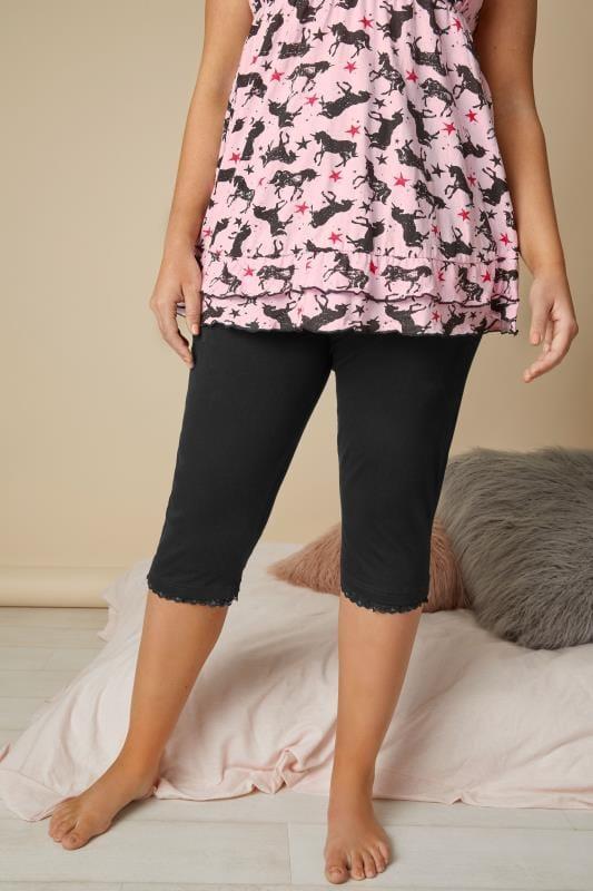 Plus Size Pyjamas 2 PACK Black Crop Pyjama Bottoms