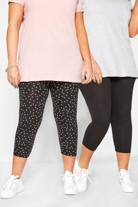 Plus Size Cropped & Short Leggings 2 PACK Black Daisy Print Cropped Leggings