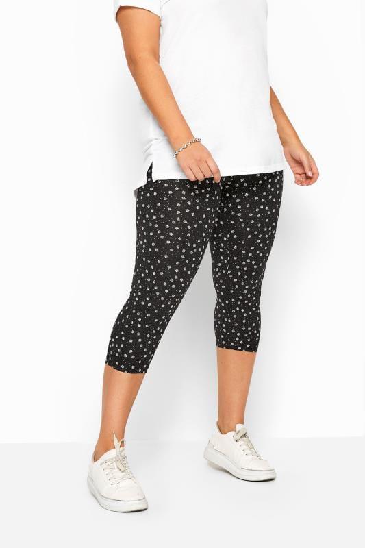 2 PACK Black Daisy Print Cropped Leggings