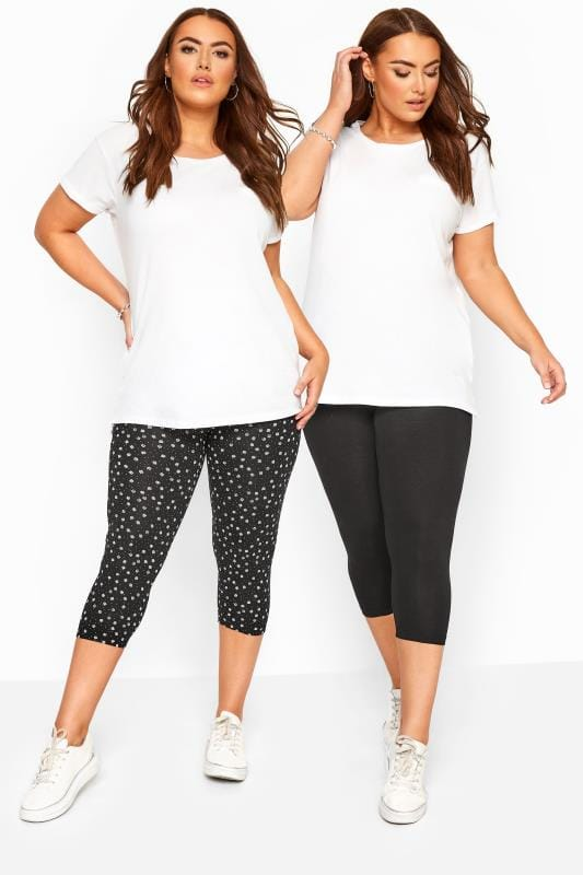 Plus Size Cropped & Short Leggings 2 PACK Black Daisy Print Cropped Leggings