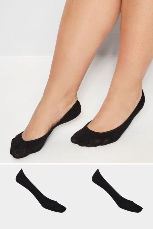 Plus-Größen Socken 2er Pack Damenfüßlinge - Schwarz