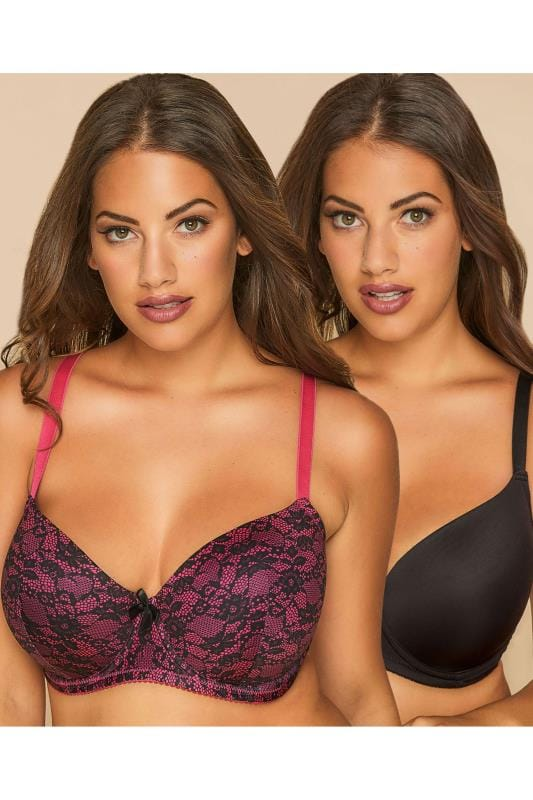 2 PACK Black & Hot Pink Lace Effect T-Shirt Bras