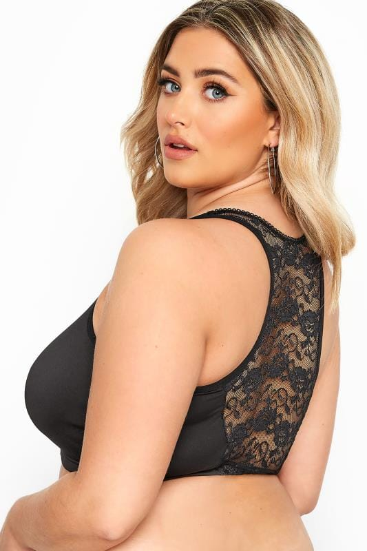 2 PACK Black Lace Front Fastening Bra