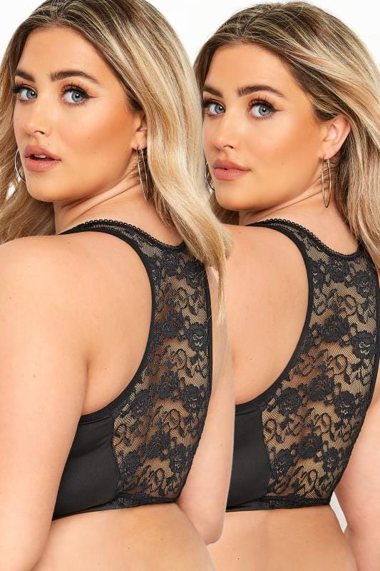 Plus Size Non-Padded Bras 2 PACK Black Lace Front Fastening Bra