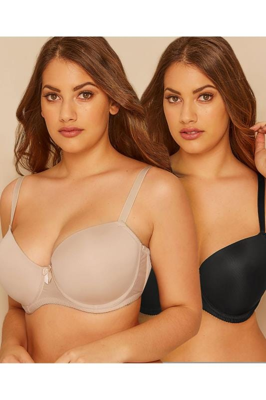 Plus Size Multipack Bras 2 PACK Black & Nude Moulded T-Shirt Bra