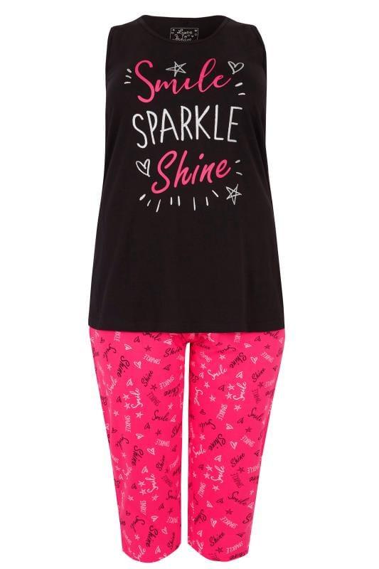 Black & Pink Glitter Slogan Print Pyjama Set