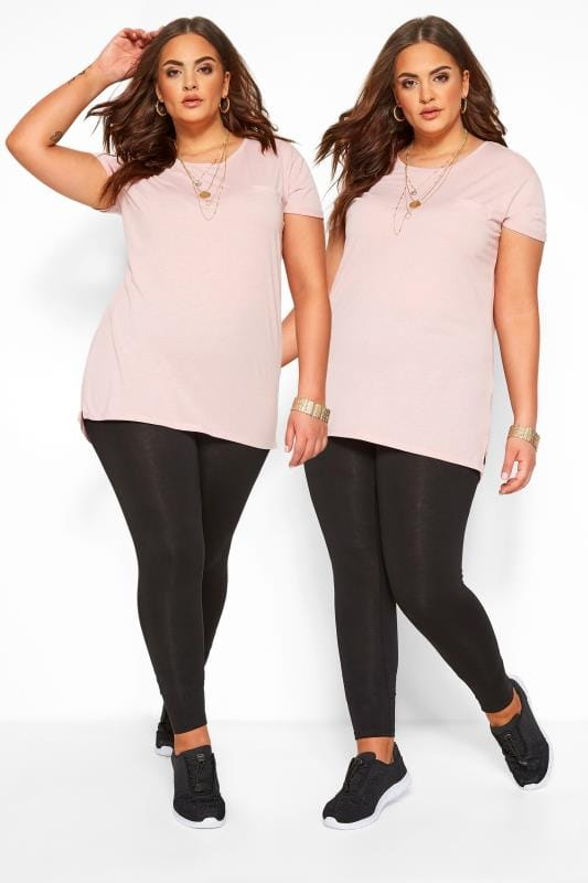 Plus Size Basic Leggings 2 PACK Black Soft Touch Leggings