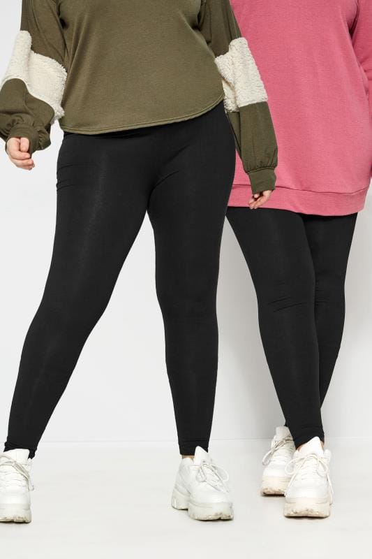 Plus-Größen Basic Leggings 2 PACK Black Soft Touch Leggings